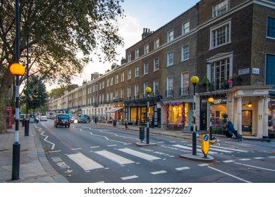LONDON- NOVEMBER, 2018:  Connaught Street / Connaught Village, an upmarket area of boutique shops and restaurants off Edgware Road