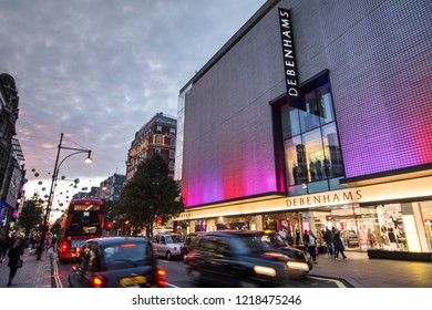 LONDON- NOVEMBER, 2018: Debenhams flagships store on Oxford Street, a famous British department retailer