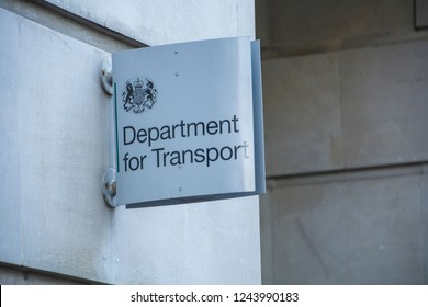 LONDON- NOVEMBER, 2018: Department for Transport exterior logo-  UK government department office,  Westminster