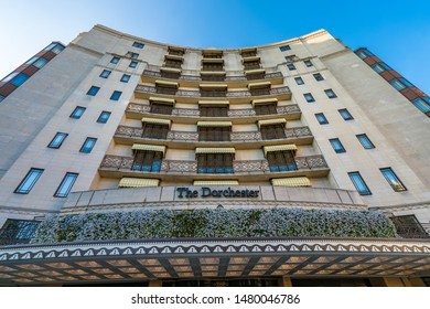 LONDON- NOVEMBER, 2018: The Dorchester 5 Star Hotel on London's Park Lane, overlooking Hyde Park. A luxury hotel with bars and a restaurant