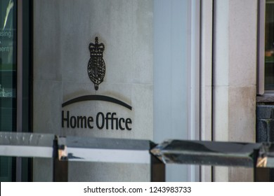 LONDON- NOVEMBER, 2018: Home Office logo and crest by main entrance- British government department in Westminster