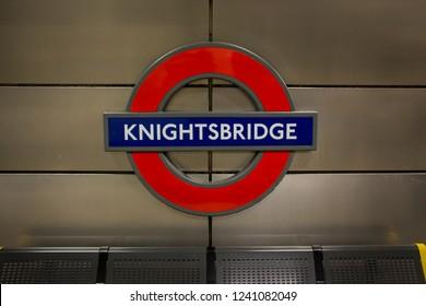 LONDON- NOVEMBER, 2018: Knightsbridge underground station sign on platform. A tube station in up market area of London