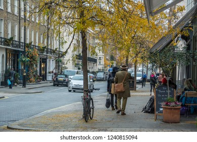 LONDON- NOVEMBER, 2018: Leafy streets of Belgravia, an attractive area of London with many boutique shops and restaurants