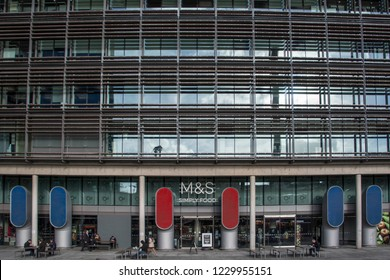LONDON- NOVEMBER, 2018: Marks &  Spencer headquarters in Paddington with Simply Food store below. A major British multinational retailer.
