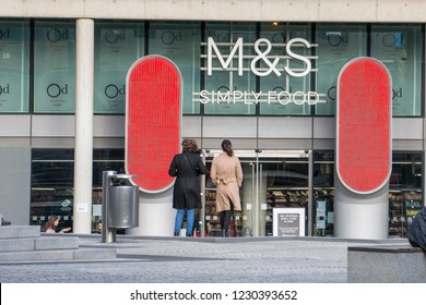 LONDON- NOVEMBER, 2018: Marks &  Spencer Simply Foods store below their headquarters in Paddington. A major British multinational retailer.