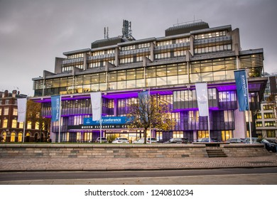 LONDON- NOVEMBER, 2018: Queen Elizabeth II Centre, a conference facility in the heart of Westminster