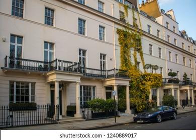 LONDON- NOVEMBER, 2018: A residential street of elegant  townhouses in Belgravia, an upmarket area of Westminster, London