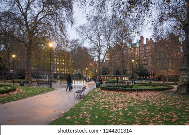 LONDON- NOVEMBER, 2018: Russell Square, a large garden square in Bloomsbury area of Camden.
