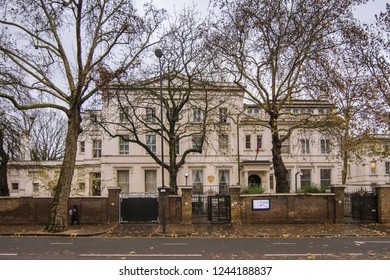 LONDON- NOVEMBER, 2018: Russian Embassy building on Bayswater Road, Westminster