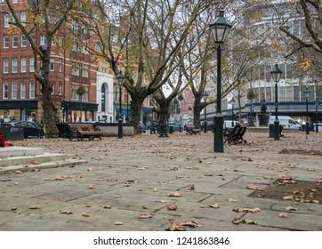 LONDON- NOVEMBER, 2018: Sloane Square, an attractive market square bordering Chelsea, Knightsbridge and Belgravia
