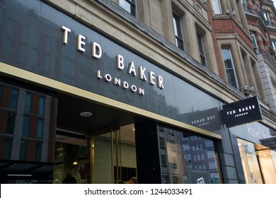 LONDON- NOVEMBER, 2018: Ted Baker store in Knightsbridge, a British luxury fashion label
