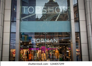 LONDON- NOVEMBER, 2018: Topshop Topman store in Knightsbridge, a popular British fashion brand