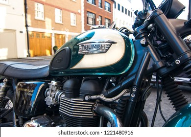 LONDON- NOVEMBER, 2018: A Triumph motorcycle, close up centred on logo. A large British motorcycle manufacturer