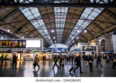LONDON- NOVEMBER, 2018: Victoria Station main concourse-  a major railway terminus in Westminster