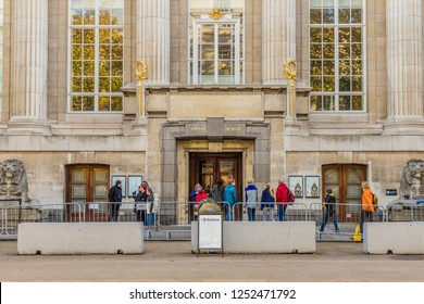 London November 2018. A view of the back entrance of the British Museum in Bloomsbury in London