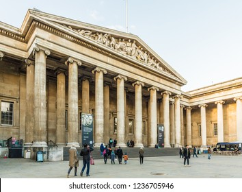 London. November 2018. A view of The British Museum in Bloomsbury in London