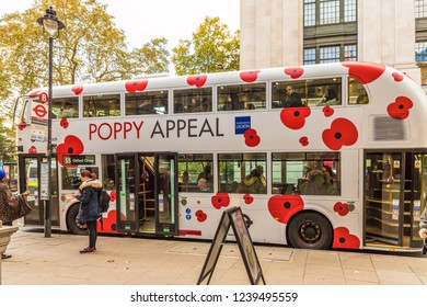 London. November 2018. A view of a london bus with Poppy appeal advertising in London