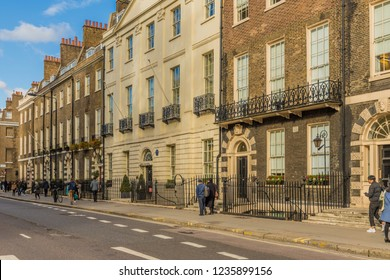 London. November 2018. A view of Gower street in Fitrovia in London