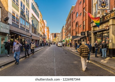 London. november 2018. A view of Old Compton street in soho in London