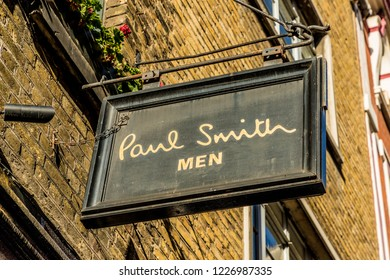London. november 2018. A view of the Paul smith signage outside the store on Floral street in London