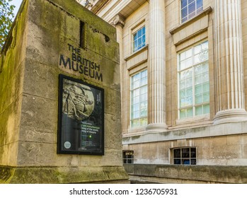 London. November 2018. A view of a sign outside the British Museum in Bloomsbury in London