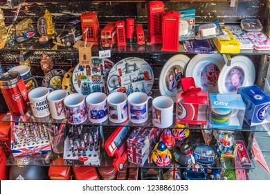 London. November 2018. A view of souvenirs for sale at Portobello Market in London