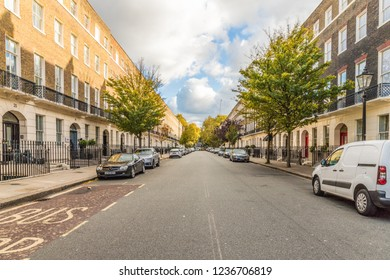 London. November 2018. A view of a street scene in Bloomsbury in London