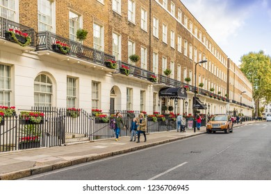 London. November 2018. A view of a street scene including The Montague Hotel in Bloomsbury in London