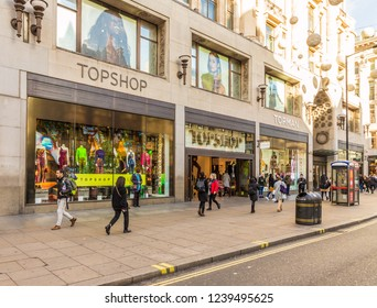 London. November 2018. A view of the Topshop store on Oxxford Street in London
