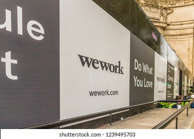 London. November 2018. A view of wework hoarding outside the New Holborn offices in London