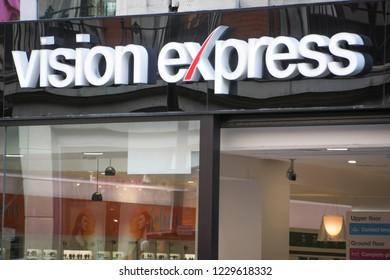 LONDON- NOVEMBER, 2018: Vision Express store exterior logo on Oxford Street- a large British high street optician