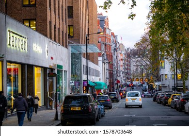 LONDON- NOVEMBER, 2019: Berkeley Square in Mayfair, a high end landmark area of shops and businesses in London's West End