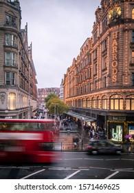 LONDON- NOVEMBER, 2019: Harrods department store in Knightsbridge- a famous London landmark and upmarket shopping destination