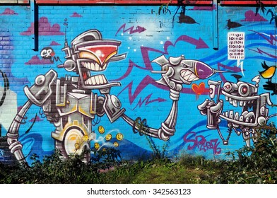 LONDON - NOVEMBER 22, 2015. Street art in the Nomadic Community Gardens at Shoreditch in the Borough of Tower Hamlets, an area renown for its public painting in east London, UK.