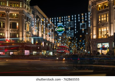 LONDON - NOVEMBER 25, 2017: Christmas lights on Oxford Circus, London, UK. The Christmas lights attract thousands of shoppers during the festive season and are a major tourist attraction in London