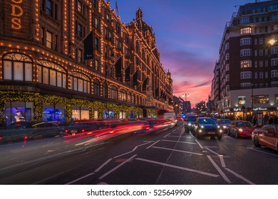 LONDON - NOVEMBER 26, 2016: View of Brompton Road in Knightsbridge. There are many top restaurants and shops along the road, one of them is the most famous department stores in the world, Harrods