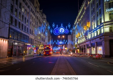 LONDON - NOVEMBER 27, 2016:  The beautiful Christmas lights illuminating the Strand in central London, on 27th November 2016