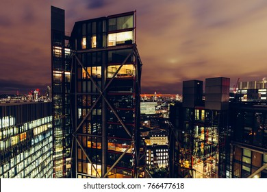 LONDON - NOVEMBER 28, 2017: Aerial view of luxury modern apartment buildings on London cityscape skyline at night
