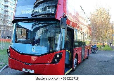 London, November 30th 2016 - A StreetDeck double decker bus manufactured by Wrightbus and running exclusively on Hydrogen is exhibited outside City Hall in London.