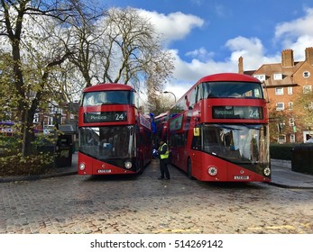 LONDON - NOVEMBER 7: New London Routemaster Busses operating the 24 bus route between Pimlico and Hampstead Heath on November 7, 2016 in London, UK.