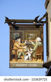 LONDON - OCT 06: English pub sign, Public house, known as pub, is focal point of the community, on Oct 06, 2012, London, UK. Pub business, now about 53,500 pubs in UK, has been declining every year.
