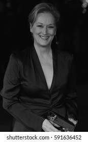 LONDON - OCT 07, 2015: Meryl Streep ( Image digitally altered to monochrome ) attends Suffragette film premiere and gala opening night, 59th BFI London Film Festival on Oct 07, 2015 in London