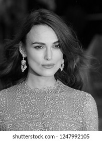 LONDON - OCT 08, 2014: ( Image digitally altered to monochrome ) Keira Knightley attends a screening of The Imitation Game at the 58th BFI London Film Festival at Odeon Leicester Square