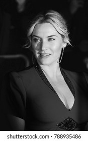 LONDON - OCT 14, 2013: Kate Winslet ( Image digitally altered to monochrome ) attends a screening of Labor Day during the 57th BFI London Film Festival at Odeon West End