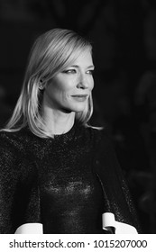 LONDON - OCT 14, 2015: ( Image digitally altered to monochrome ) Cate Blanchett attends the Carol premiere, 59th BFI London Film Festival in London
