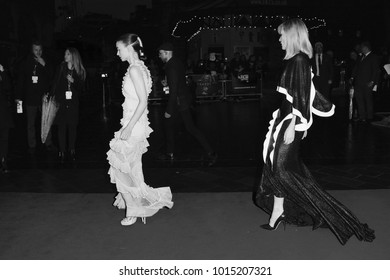 LONDON - OCT 14, 2015: ( Image digitally altered to monochrome ) Cate Blanchett and Rooney Mara attend the Carol premiere, 59th BFI London Film Festival in London