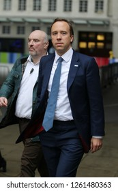LONDON - OCT 14, 2018: Matt Hancock  Secretary of State for Health and Social Care seen at the BBC studios in London