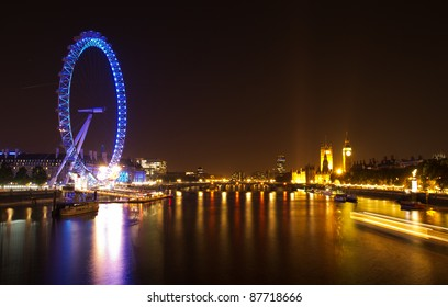 LONDON - OCT. 15: Night view of The London Eye on October 15, 2011 in London, England. The London Eye is the most popular attraction of the UK and the tallest Ferris Wheel in Europe