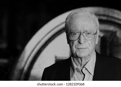 LONDON - OCT 19,  2015: ( Image digitally altered to monochrome ) Sir Michael Caine attends The Last Witch Hunter film premiere