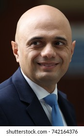 LONDON - OCT 22, 2017: Sajid Javid MP Secretary of State for Communities and Local Government attends the BBC Andrew Marr Show at the BBC Studios in London